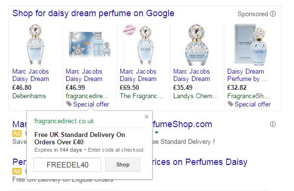 Como se muestran las promociones generadas mediante un Feed de promociones google shopping