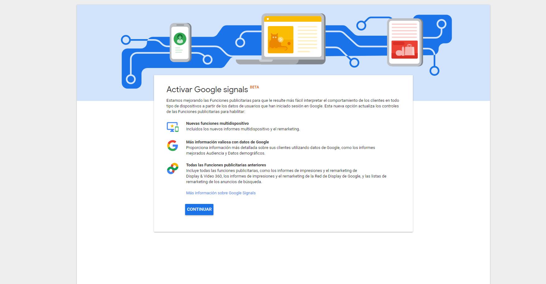 Siguiente paso de Activar Google Signals
