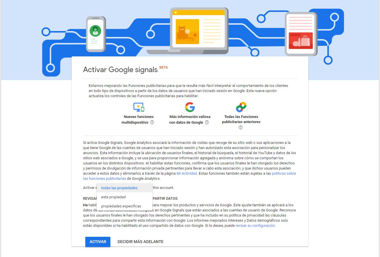Configuración Propiedad en Activar Google Signals