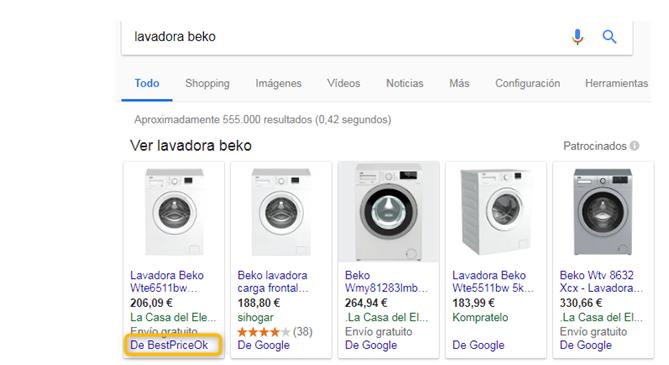 Resultados de búsqueda CSS Google Shopping