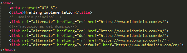 Hreflang HTML code