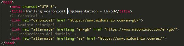 Hreflang + canonical code - EN