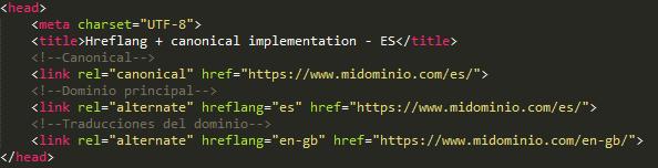 Hreflang + canonical code - ES