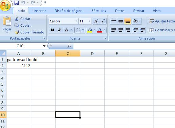 Excel para reembolsos en Analytics