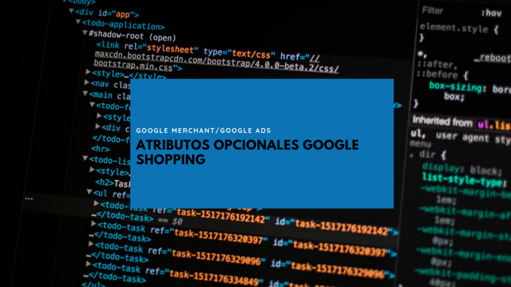 google shopping atributos