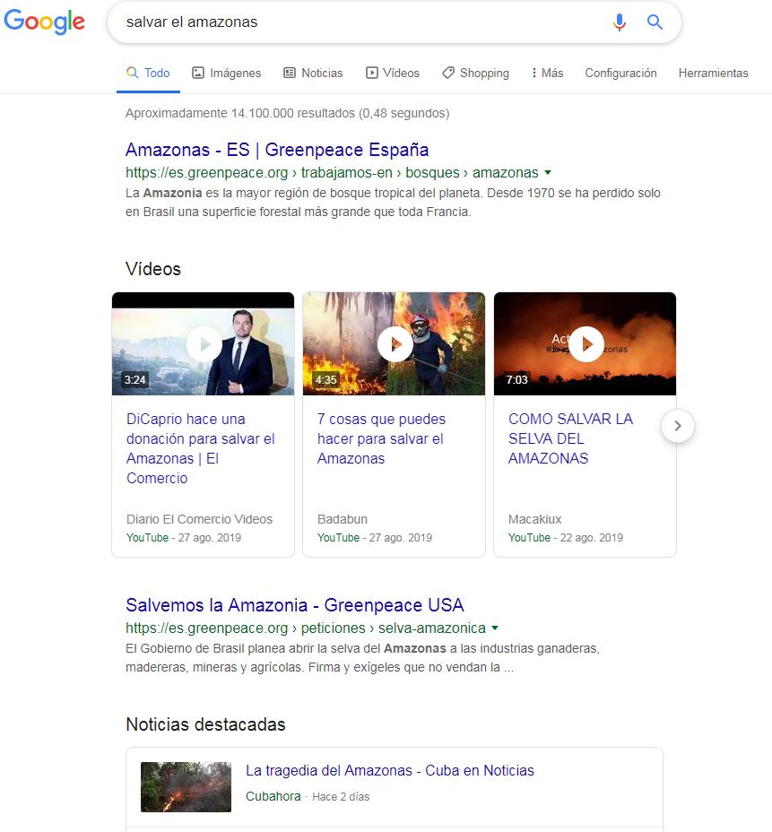 búsqueda ejemplo en google